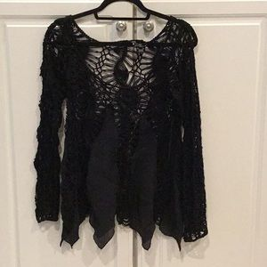 Umgee Black Crocheted Boho Top